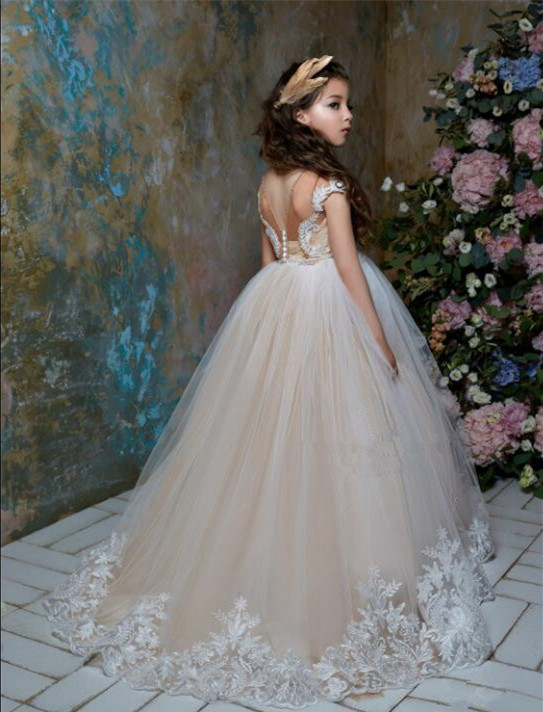 Elegant Custom made champagne lace appliques ball gown princess toddler kids holy first communion gowns flower girl dresses