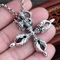 Hot Sale Thai elephant god Vajra Cross Pendant 100% 925 sterling silver necklace pendant for men or women fine jewelry 2016 GP76