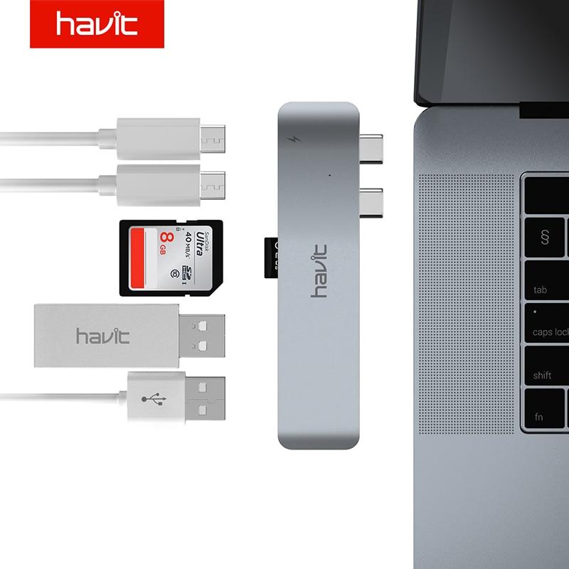 HAVIT Dual Ports USB C Hub To HDMI Adapter 4K Thunderbolt 3 USB Type C Hub with TF SD Slot PD for 2016/2017 MacBook Pro 13/15