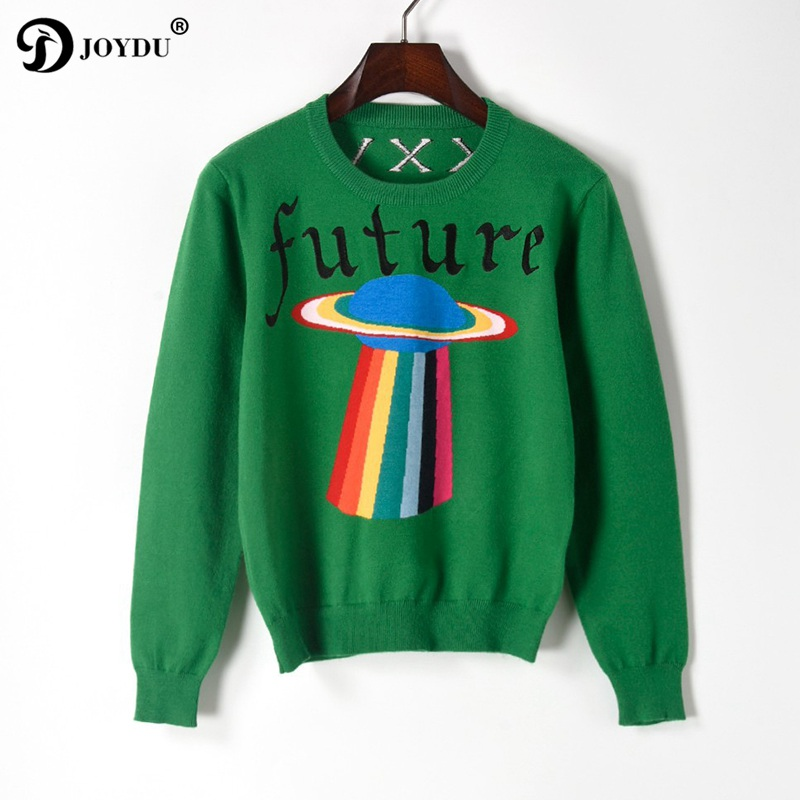 Best Quality Runway Sweater Women 2018 Designer UFO Letters Embroidery Winter Knitted Sweater Pullover Novelty Jumper kerst trui