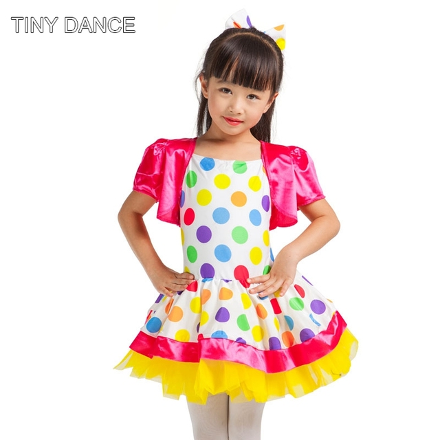 1db6b4c24 Bright Polka Dot Printed and Solid White Spandex Leotard Dress for Kid Show Costume  Ballet Tutu Jazz/Hip Hop Dance Costume 15050