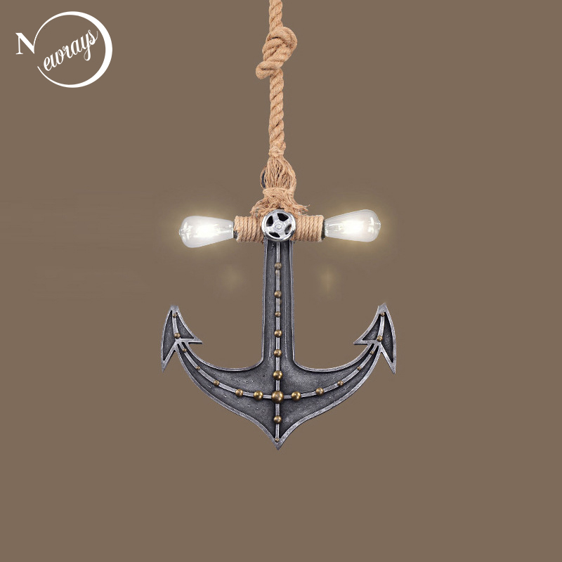 Vintage iron painted hemp rope boat anchor hanging lamp LED E27 220V creative pendant Light fixture for living room bedroom cafe(China)