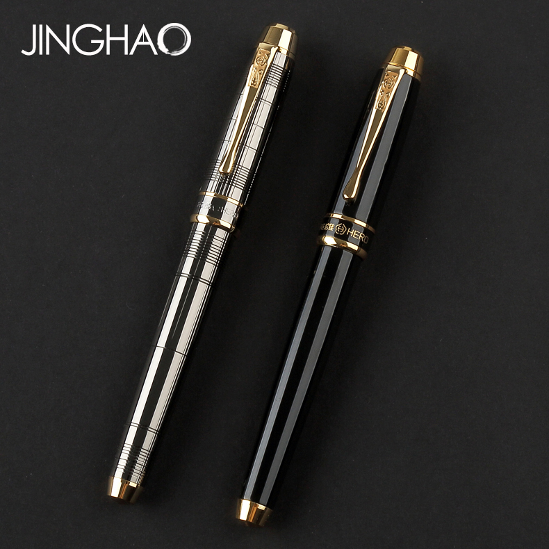все цены на Luxury Business Office Gift Stationery Gold Clip Fountain Pen Grey Black Fine Point Ink Pens with a High-end Gift Box онлайн