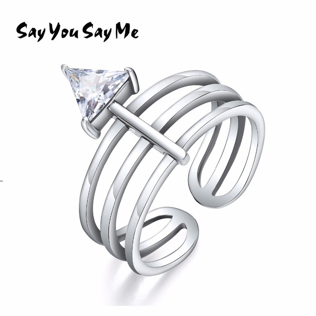 925 Sterling Silver White Triangle Zircon Rings Wedding&Engagement Unisex Multip