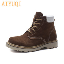 AIYUQI Female Martin boots 2019 new autumn genuine leather British wind women ankle mixed color lace up womens