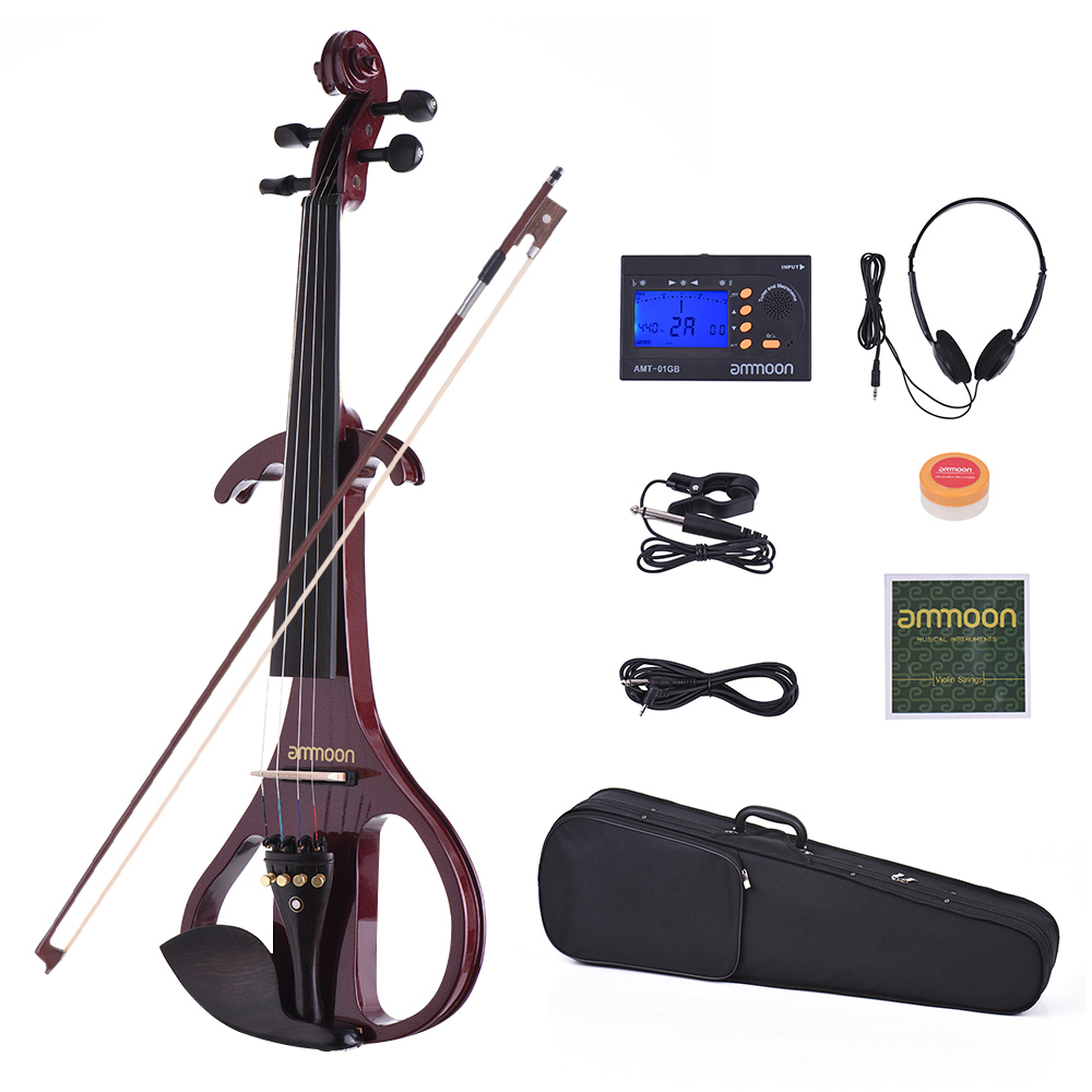ammoon VE 209 Full Size 4 4 Silent Electric Violin Solid Wood Maple with Bow Hard