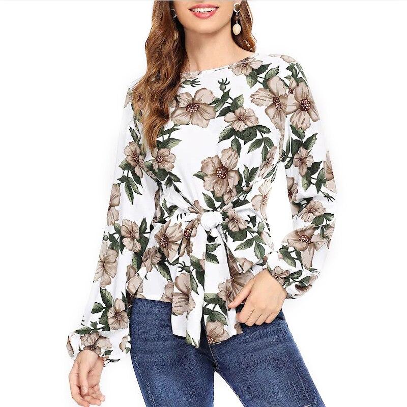 Femmes À Manches Longues t-shirt 2018 Automne De Mode Imprimé Floral T-Shirts O-cou Casual mode Femmes Arc Vêtements