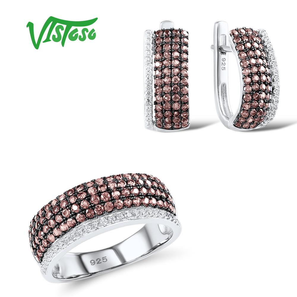 VISTOSO Jewelry Sets For Woman Chocolate White CZ Stones Jewelry Set Earrings Ring 925 Sterling Silver