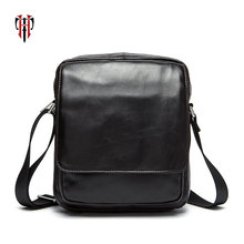 TIANHOO men bags of leather shoulder crossbody bag brand famous soft cowwide layer small PAD pockets
