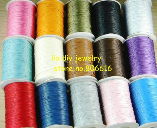 1.0MM (200Yards/Roll/Pcs) Round String Waxed Cotton Shamballa Cords Ropes Line Wire Jewelry Findings & Components