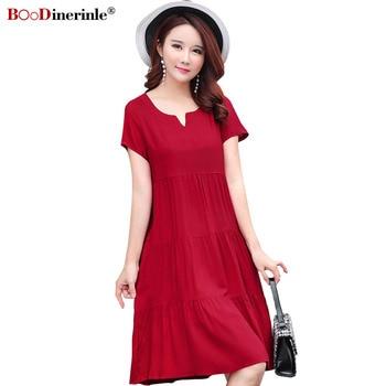 87a3cd4cc25778f Product Offer. Плюс размеры хлопок Красное Повседневное платье ...