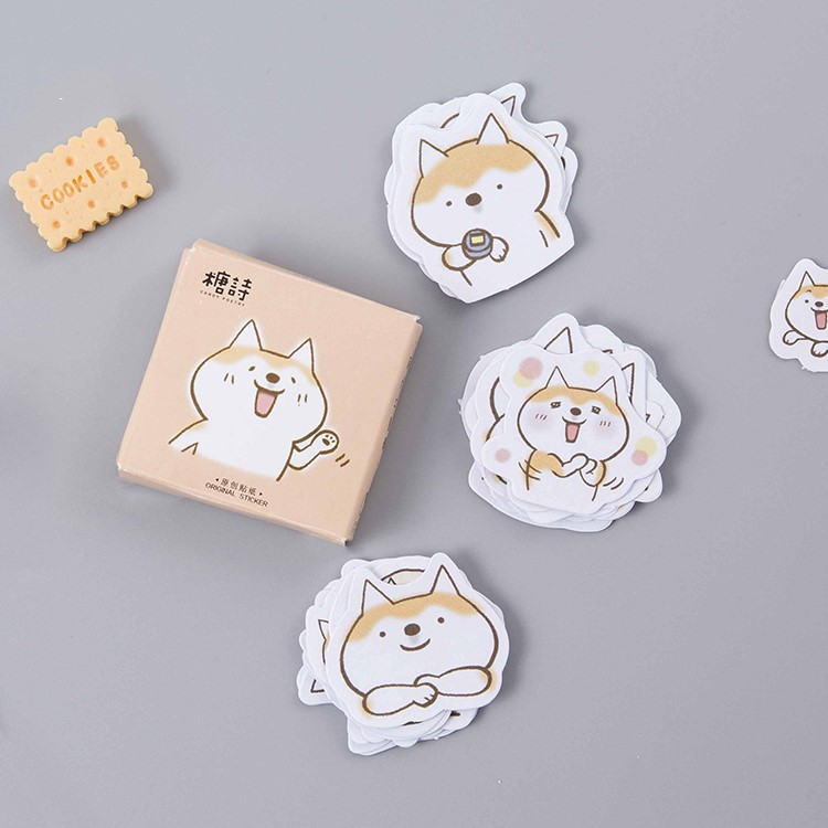 45pcs/lot Cute Dogs Decorative Diy Diary Stickers Kawaii Planner Scrapbooking Sticky Stationery Escolar School Supplies 45pcs box stationery stickers vaporwave diy planet sticky paper kawaii moon plants stickers for decoration diary scrapbooking