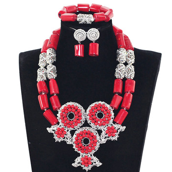 Exquisite Ring Pendant Necklace Set Wedding Nigerian Coral Beads Jewelry Set Free Shipping WX046