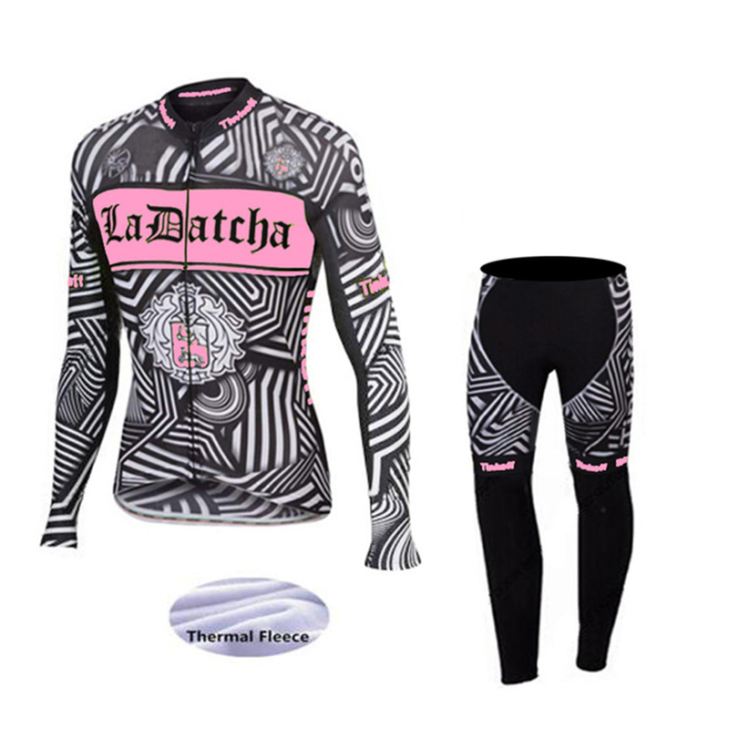 Women Winter Thermal Fleece Cycling Jersey Set Long Sleeve Bicycle Cycling Clothing Bike Clothes ropa ciclismo invierno mujer