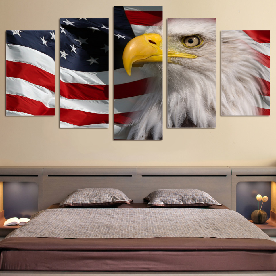 5 piece canvas art flag and eagle printed wall art home. Black Bedroom Furniture Sets. Home Design Ideas