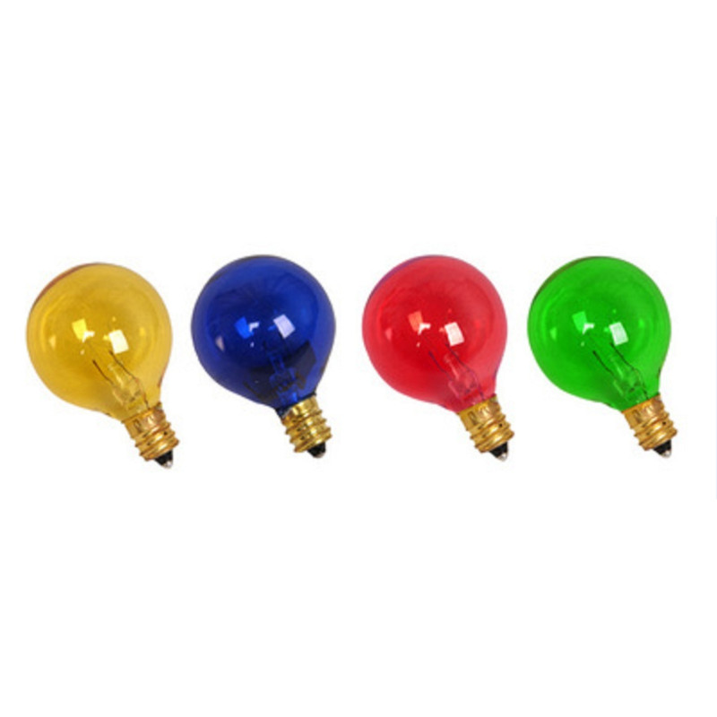 4pcs Yellow+Red+Green+Blue Cover E12 G40 Incandescent Bulbs Replacement Warm White Light Bulb for Outdoor Patio Vintage String