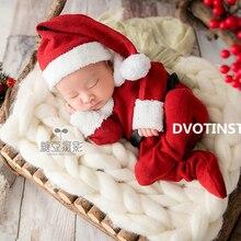 Dvotinst/реквизит для фотосессии новорожденных; вязаная шапка+ комбинезон; аксессуары для фотосессии; Рождественский костюм Санта-Клауса; студийная фотосессия