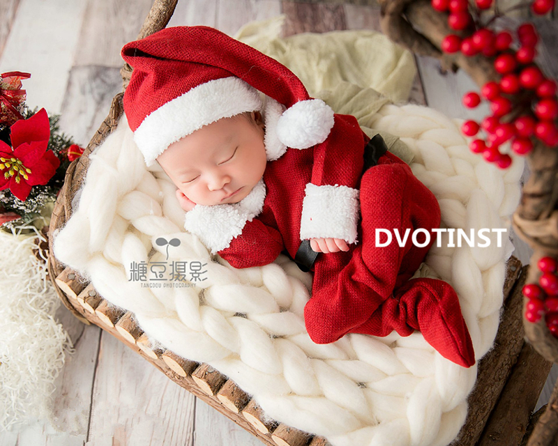 Dvotinst Newborn Baby Photography Props Knit Hat+Romper Fotografia Accessories Christmas Santa Claus Cosplay Studio Shoots Prop