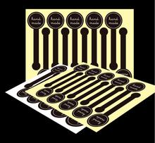 200pcs/lot  Hand made Black Self-adhesive Stickers, Long label sticker DIY Hand Made Gift /Cake Paper Sticker юбка self made self made mp002xw19hqw
