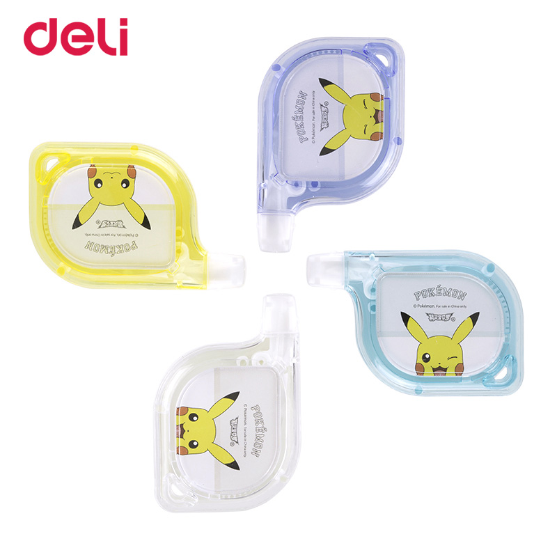 Deli Pikachu 6M Correction Tape 3pcs Student Modified Tape Transparent Correction Tape Office Stationery Supplies Wholesale