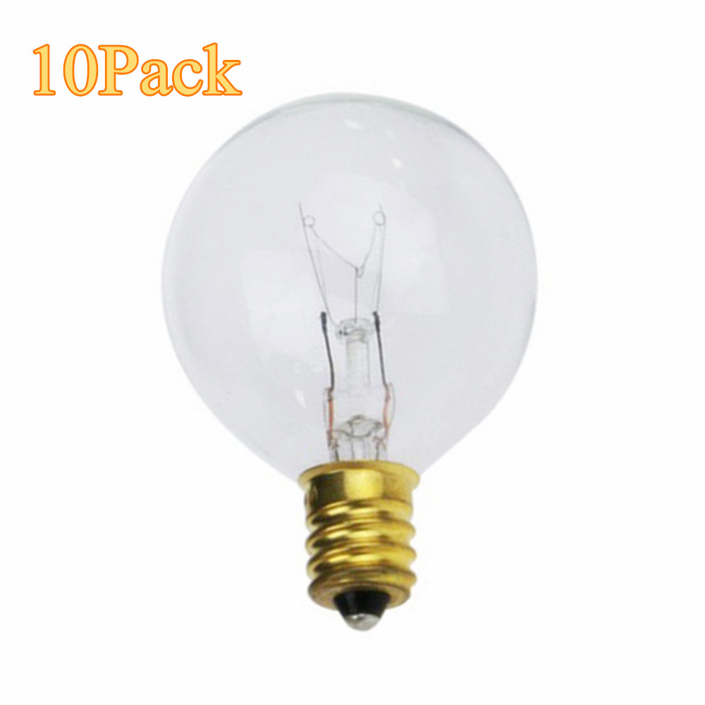 10X Clear Globe G40 Spare Bulbs, Warm Incandescent E12 Base Replacement Glass Bulb For G40 String Light