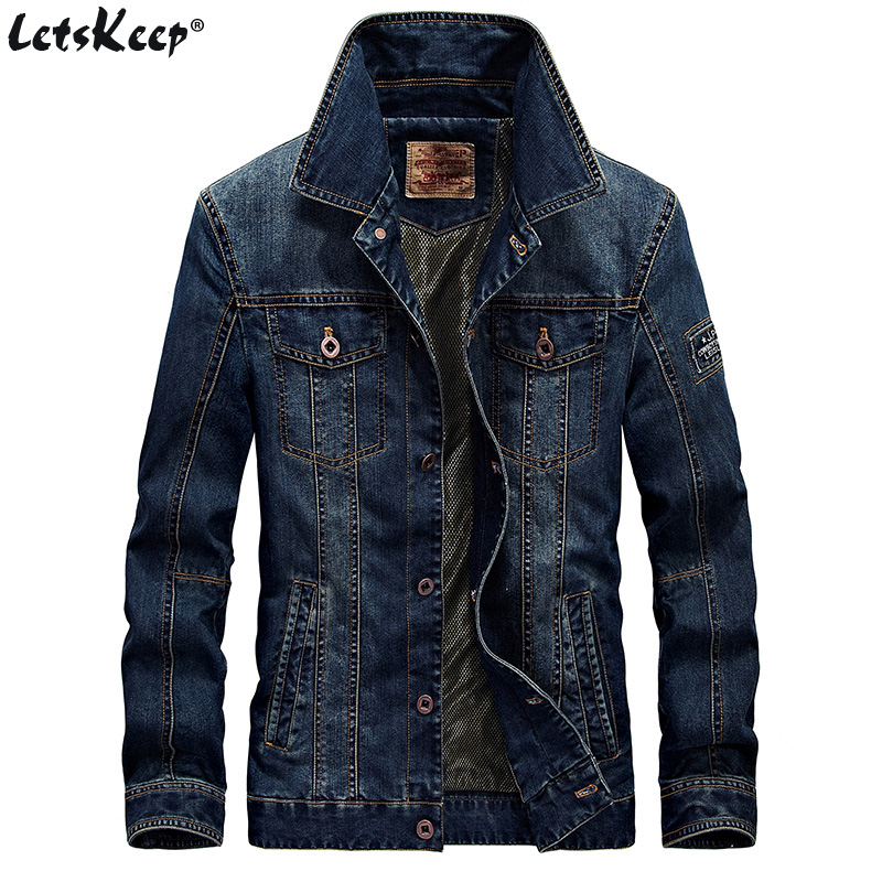 LetsKeep Retro farmer dzseki férfi őszi tavaszi turn-down gallér kabát férfi klasszikus fehérnemű jean kabát kabát plusz méret, MA403