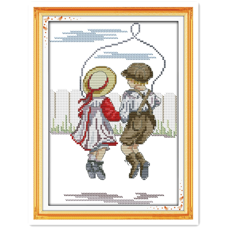 Arts,crafts & Sewing Package Rope Skipping-innocence Diypainting 11ct Counted Printed On Canvas Dmc 14ct Chinese Cross Stitch Kits Embroidery Needlework Sets A Complete Range Of Specifications