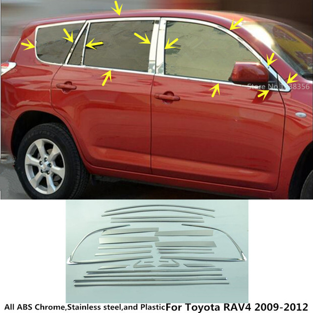 Hot Sale car body stick stainless steel glass window garnish pillar middle column strip trim for Toyota RAV4 2009 2010 2011 2012