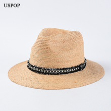USPOP 2019 New women sun hats jazz top straw fedoras raffia female summer wide brim beach hat