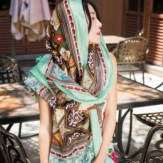 180*100cm Summer Print Silk Scarf Oversized Chiffon Scarf Women Pareo Beach Cover Up Wrap Sarong Sunscreen Long Cape Female 4