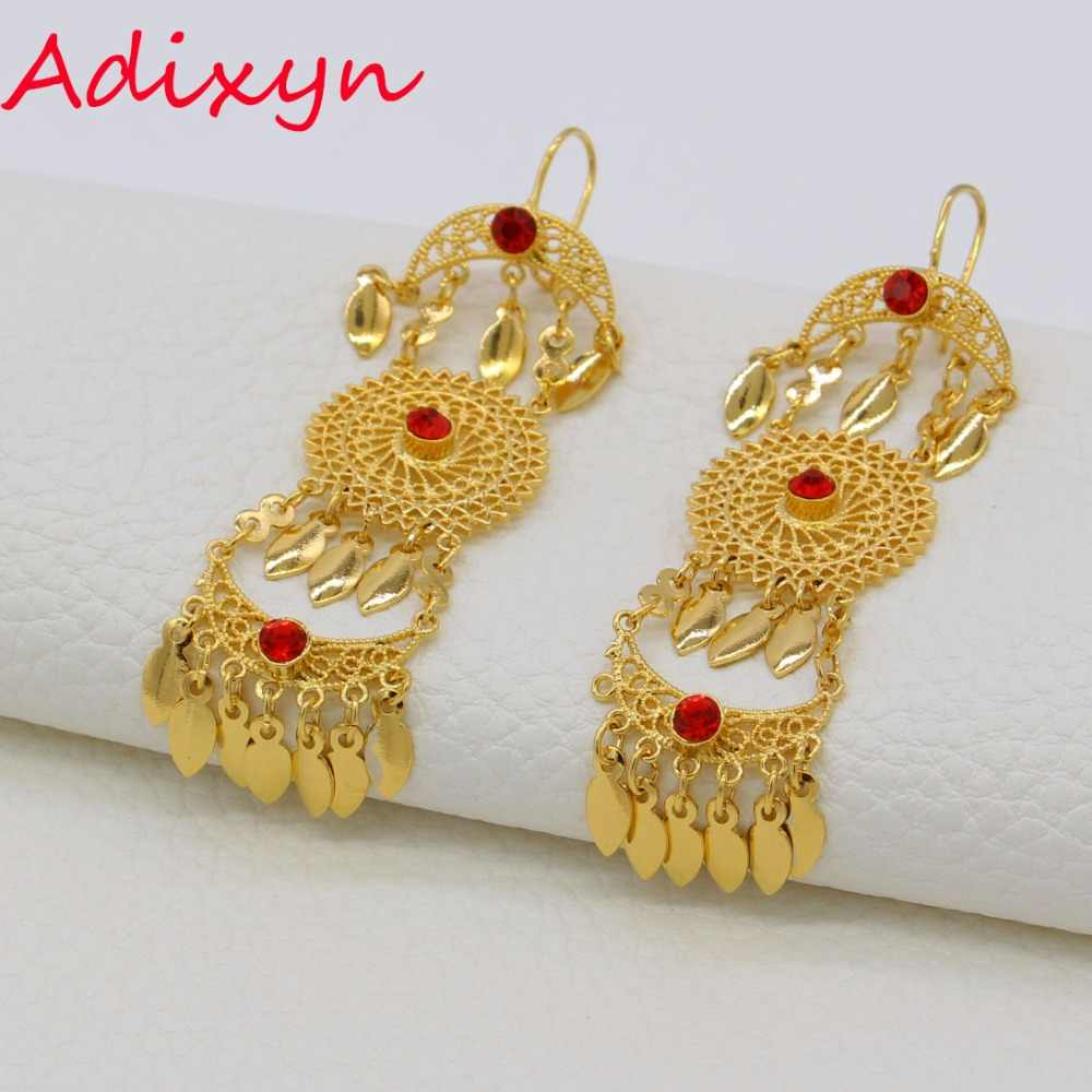 Adixyn ColorCubic Ethiopia Emas Drop earrings Wanita Emas Zirconia Anting Timur Tengah Fashion Perhiasan