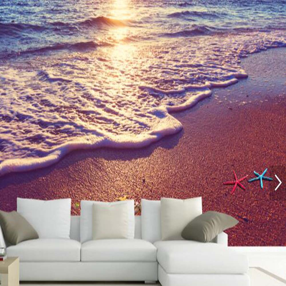 3d beach mural wallpapers for sitting room living room for Beach mural wallpaper
