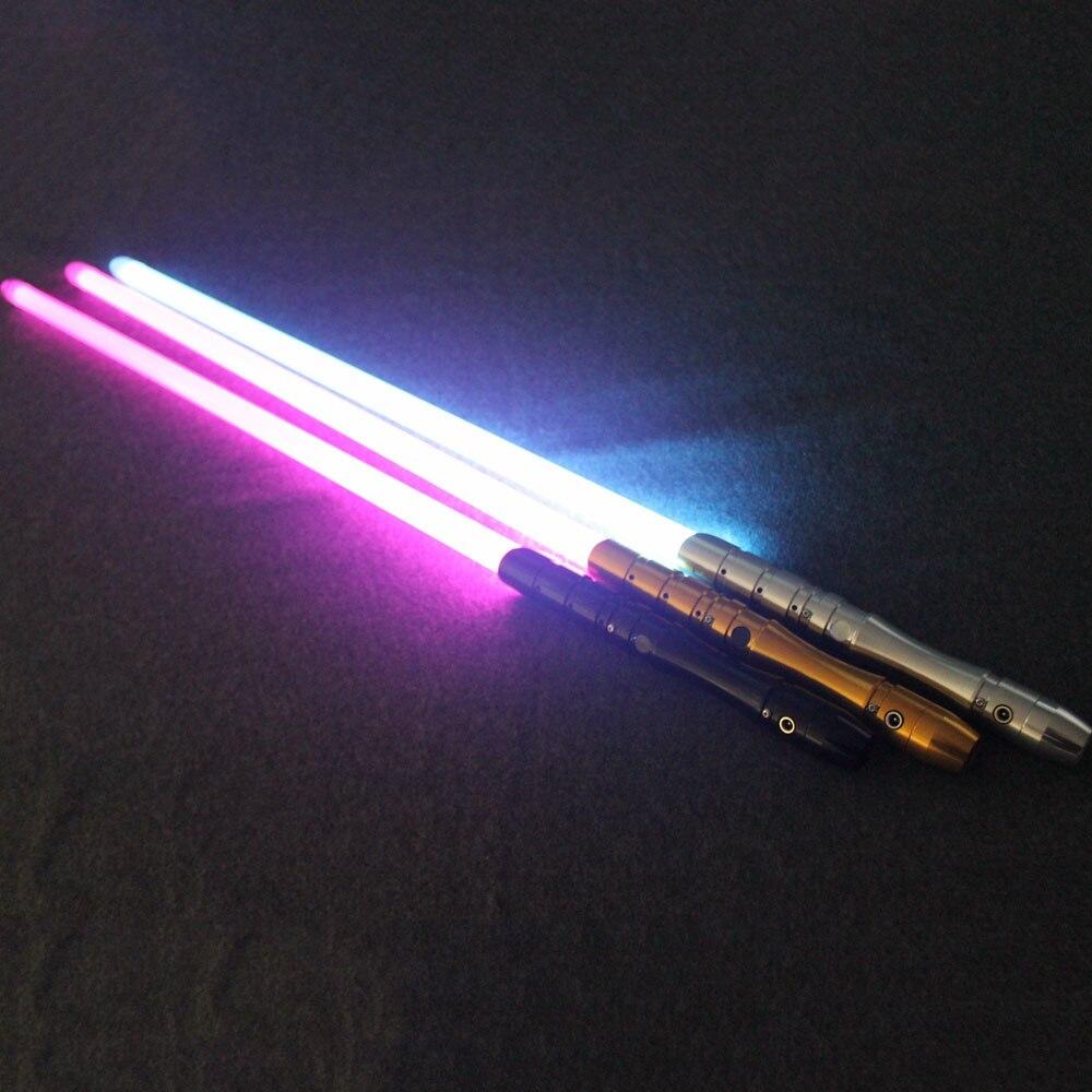 YYD Cosplay sable de luz y sonido con luz Led rojo verde azul sable láser espada de Metal juguetes Starwar chico regalos de juego
