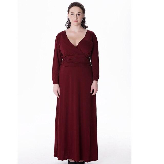 Women V Neck Long Jersey Dresses Large Size 6xl 2017 Autumn Winter