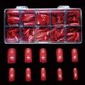 # 8FN 500 pçs/caixa Frete grátis Beleza Mix 10 tamanhos Vermelho Escuro Falso Nails Dicas Falso Nail Art Tips Cobrir Unhas artificiais