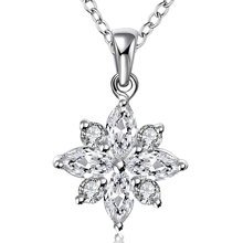 2016 Fashion Charm Vintage Lady White Crystal Zircon Flower Silver Plated Necklaces & Pendants Jewelry For Women Free Shipping