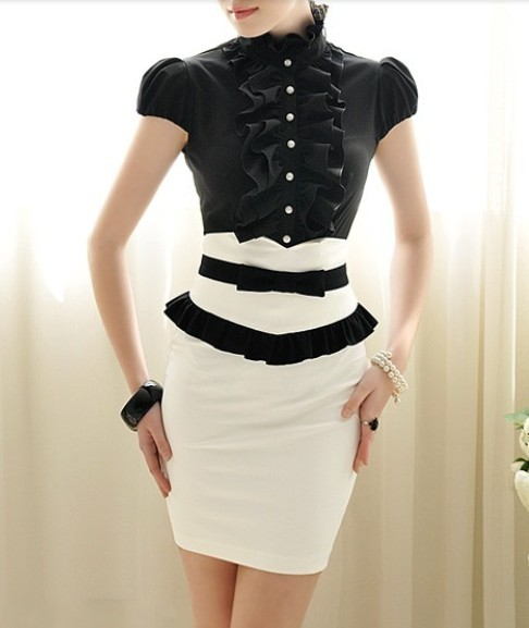 OL outfit bust skirt bow slim waist black and white color block ...