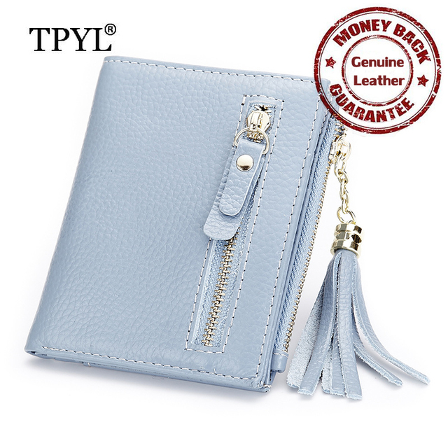 100% Guaranteed Cowhide Premium Genuine Leather Tassel Short Women Coin Purses Hot Zipper Female Organizer Wallets Factory Price