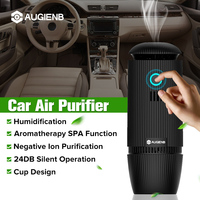 AUGIENB 5V Car Air Purifier with HEPA filter Negative Ions Air Cleaner Ionizer Essential oil Freshener for Smork PM2.5 Odor