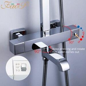 Image 3 - FAOP doccia Rubinetto termostatico rubinetto del bagno miscelatore termostatico doccia a pioggia set miscelatore termostatico rubinetto doccia sistema