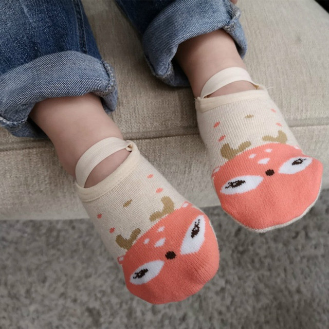 1 Pair Fashion Baby Girls Boys Cute Cartoon Non-slip Cotton Toddler Floor Socks Animal pattern First Walker Shoes for Newborns 1