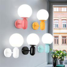 купить Modern Color LED Glass Wall Lamp Bedroom Living Room Corridor Restaurant Lighting Led Indoor Wall Lamps Sconces Lights Luminaire дешево