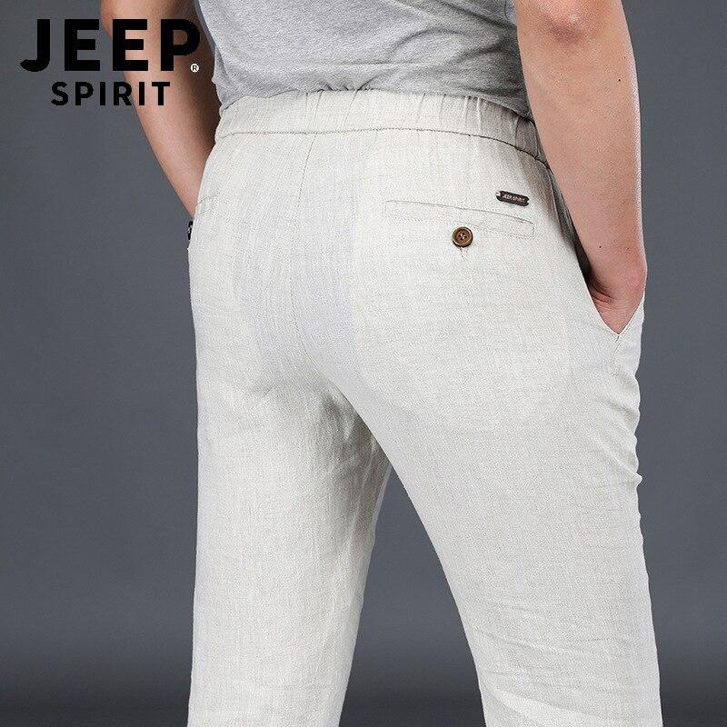 JEEP SPIRIT Summer 100% Linen Pants Men Casual Breathable Mid-waist Thin Autumn Trousers Men Plus Size Men Pants Pantalon Homme