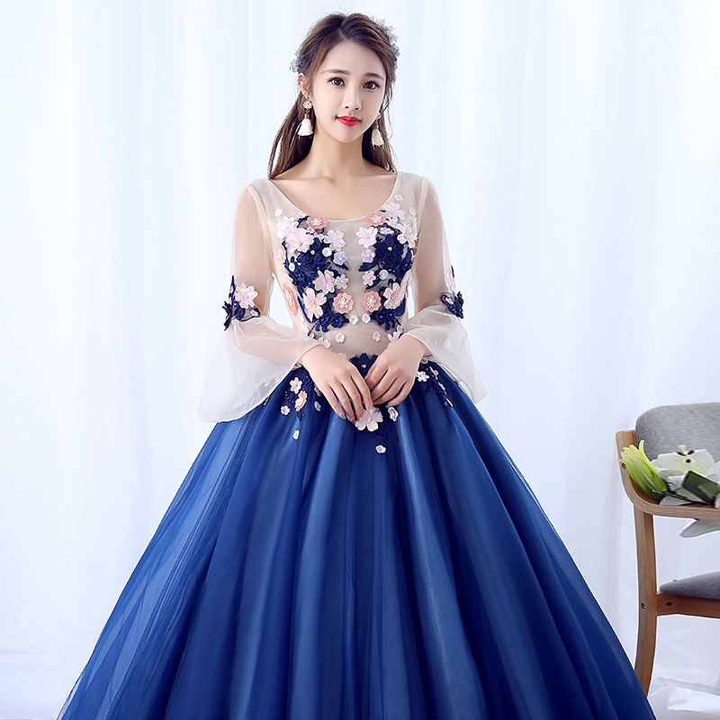 e00a032b7 Vestido De 15 anos Quinceanera Dresses Royal Blue Debutante dress 2018 Ball  Gown Long Sleeves Sweet Lace Flower Party Gowns-in Quinceanera Dresses from  ...