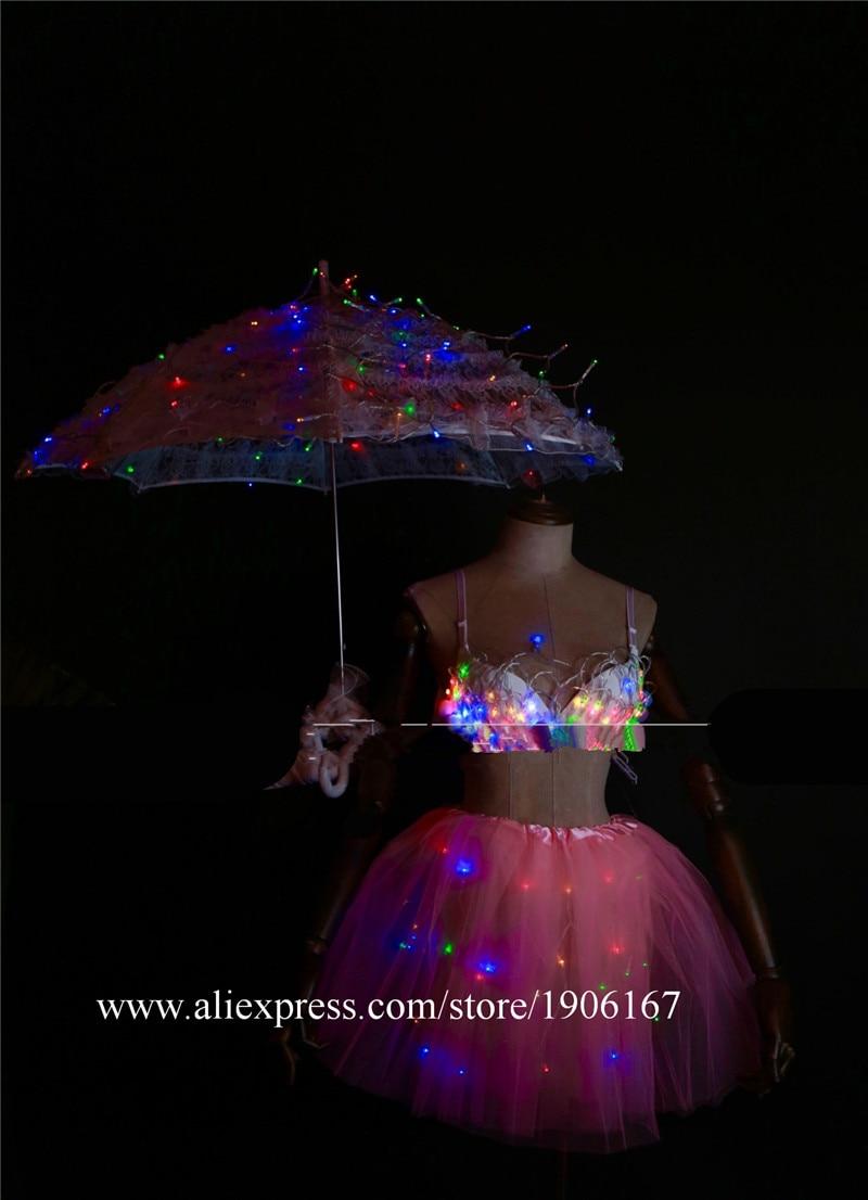 White Valentine\'s Day LED luminous wedding design gogo female songs ds hundred DJ suit costumes05