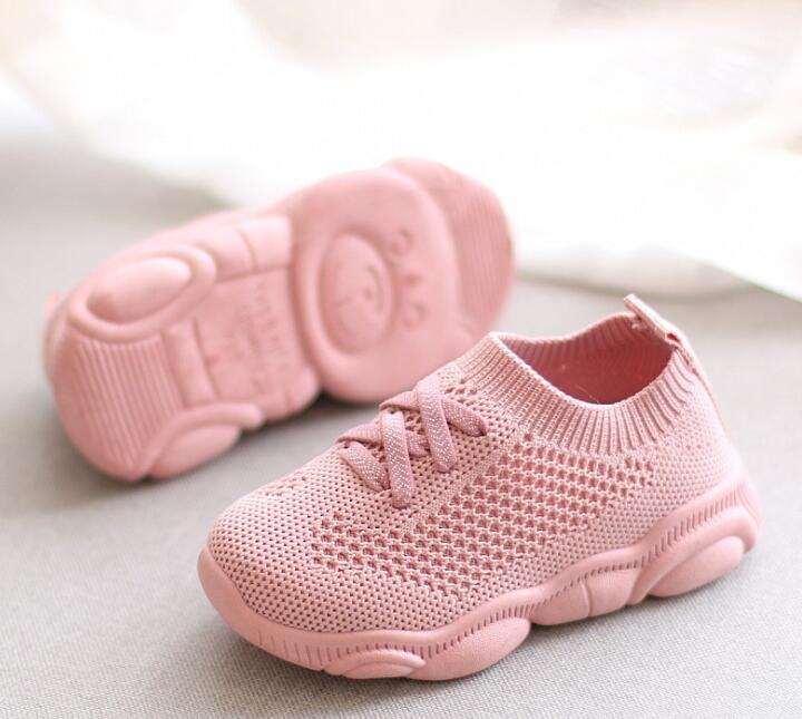 New Soft Baby Shoes Fashion Socks Shoes Boys Sneakers Pink Girls Shoes Infant Knitting Toddler Shoes High Top Ankle Flats