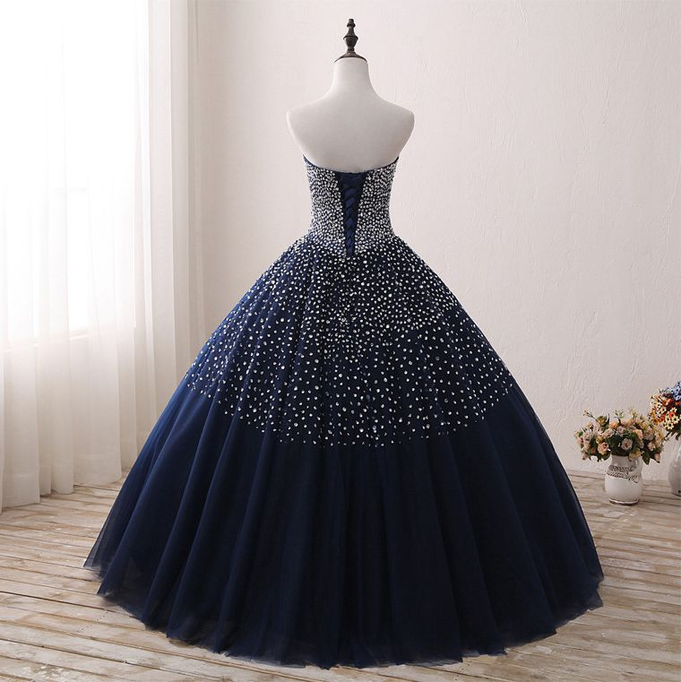 Bleu marine Quinceanera robes Stock robe de bal perlée chérie Abiti Da Quinceanera Vestido Debutante 15 Anos livraison gratuite - 2