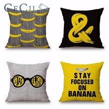 Decorative Throw Pillows Case Banana Cotton Linen Cushion Covers For Sofa Office Car Lumbar Home Decor Pillow Cojines Para Sala цены
