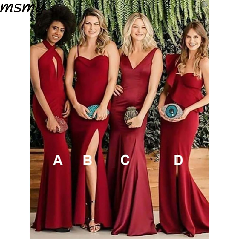 2019 Simple Mermaid V-Neck Red   Bridesmaid     Dresses   Sleeveless Side Split Cheap Long   Bridesmaid     Dresses   Custom Made