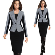 2016 New Arrival Women Long Sleeve Notched Style Blazer Suits Office Casual Plaid Color Clothing Female
